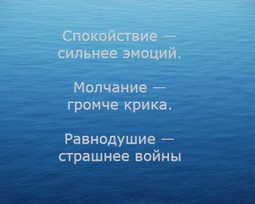 Спокойствие — сильнее эмоций. Молчание — громче крика. Равнодушие — страшнее войны